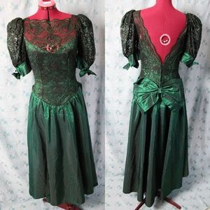 Vintage Emerald and Lace party dress
